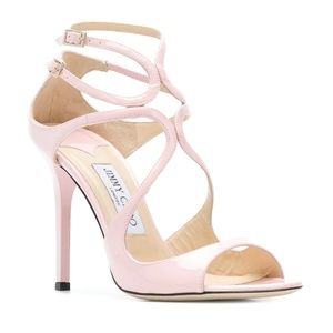 NIB Jimmy Choo Pink Rose Patent Lang Sandals